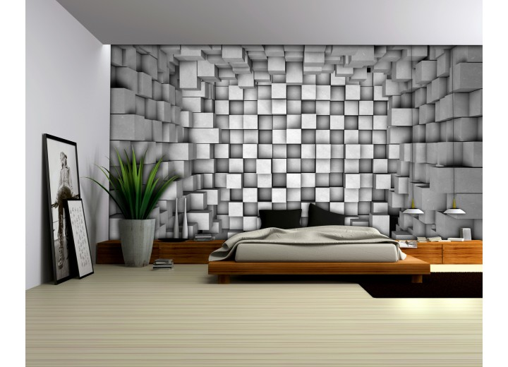 Fotobehang Papier 3D | Grijs | 254x184cm