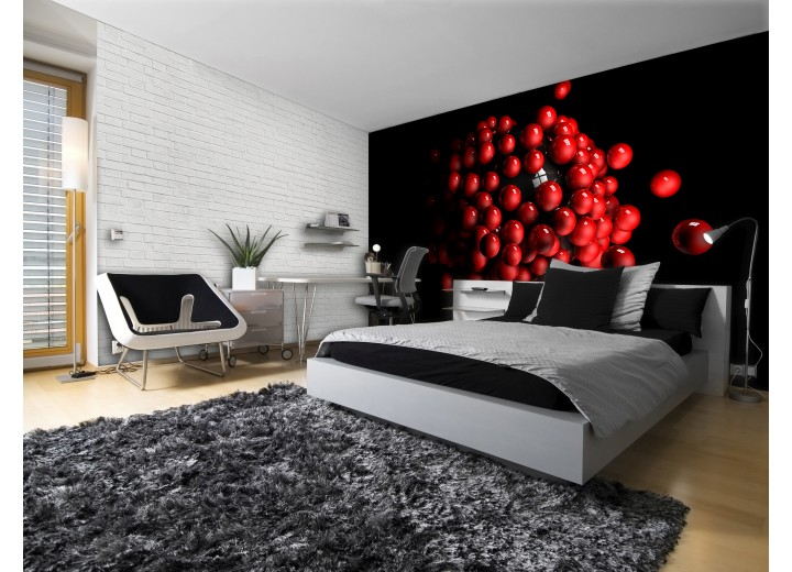 Fotobehang 3D | Rood, Zwart | 208x146cm