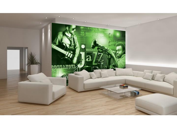 Fotobehang Papier Muziek, Jazz | Groen | 368x254cm