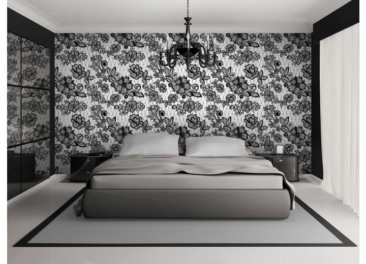 Fotobehang Papier Bloemen, Slaapkamer | Grijs | 254x184cm
