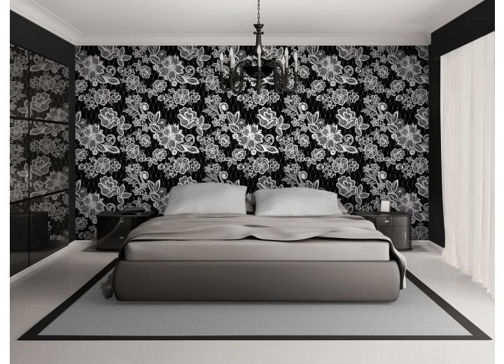 Fotobehang Vlies | Bloemen, Slaapkamer | Zwart, Wit | 368x254cm (bxh)