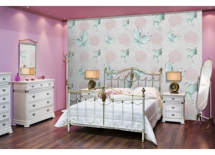 Fotobehang Vlies | Vlinder, Rozen | Roze, Turquoise | 368x254cm (bxh)