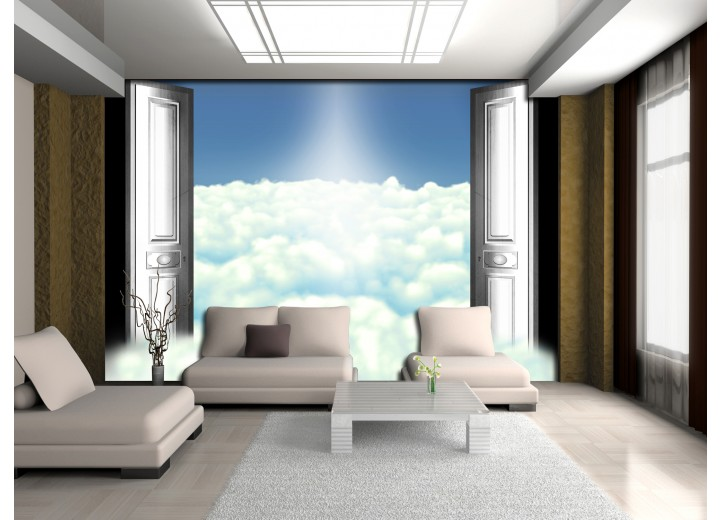 Fotobehang Vlies | Wolken | Blauw | 368x254cm (bxh)