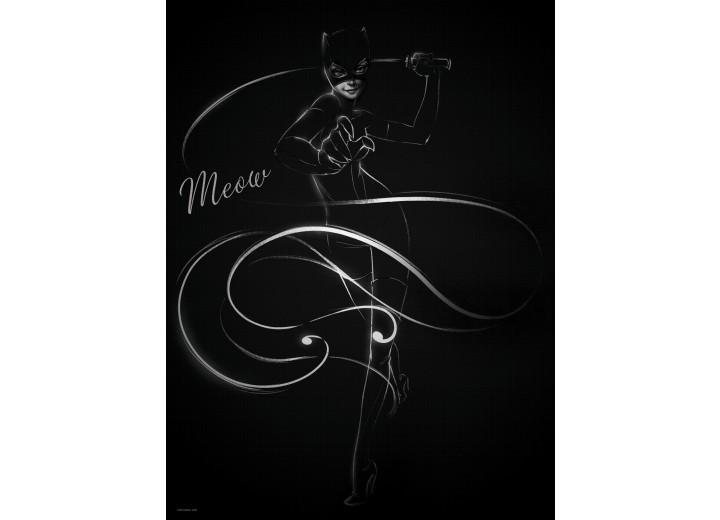 Fotobehang Papier Vrouw, Kat   Zwart   184x254cm