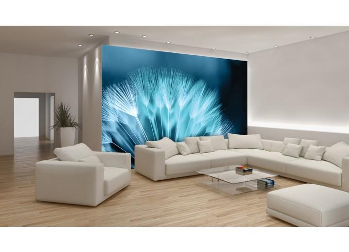 Fotobehang Papier Bloemen | Blauw | 254x184cm