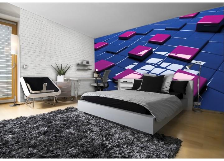 Fotobehang 3D | Blauw, Roze | 152,5x104cm