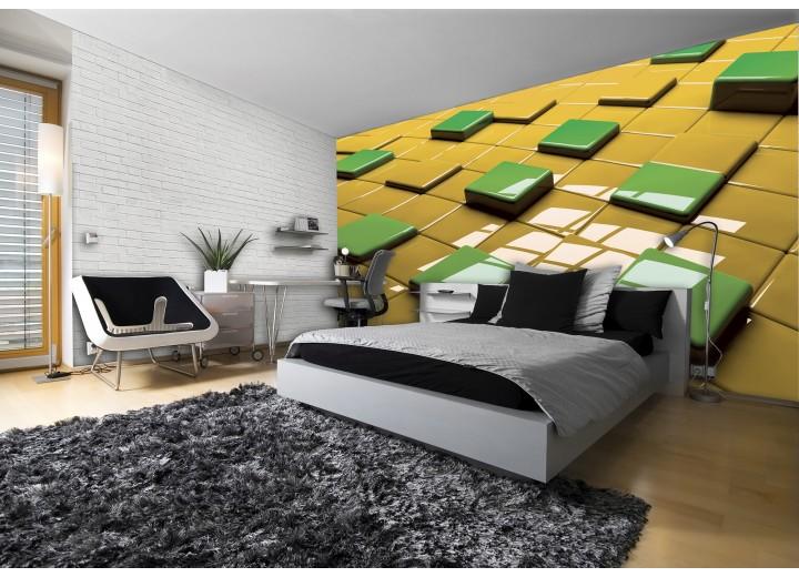 Fotobehang 3D | Geel, Groen | 416x254