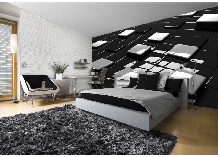 Fotobehang 3D | Zwart, Wit | 416x254