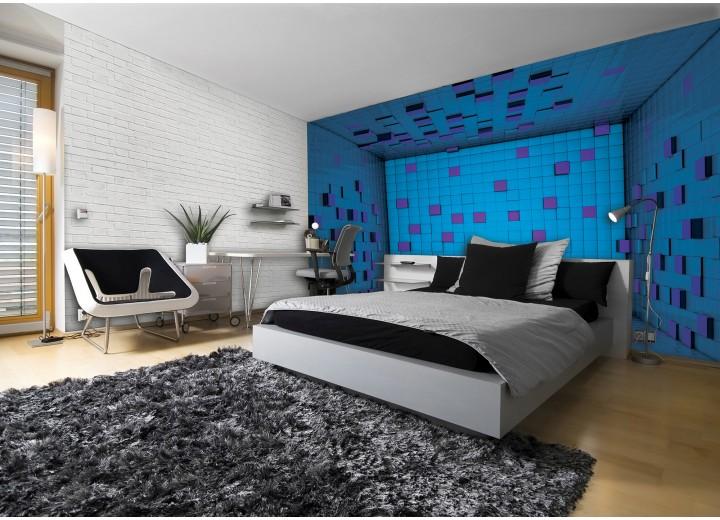 Fotobehang 3D | Blauw, Paars | 416x254