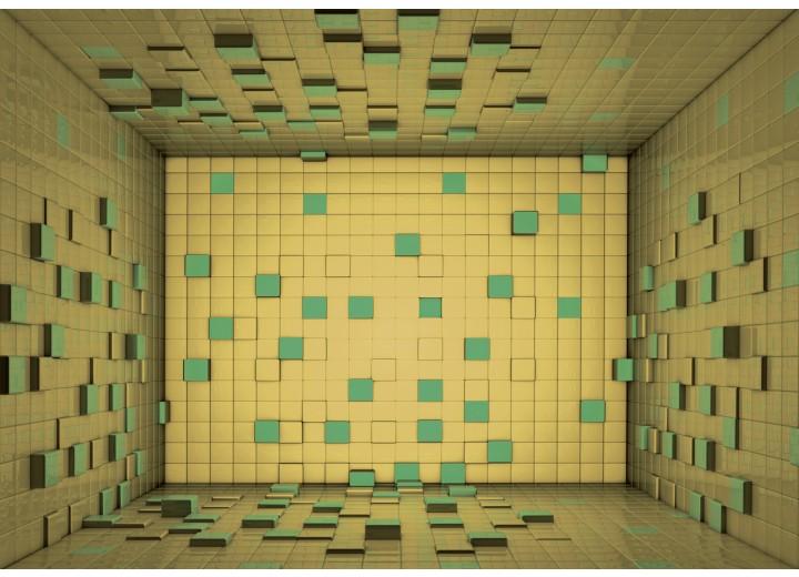 Fotobehang Papier 3D | Geel, Groen | 254x184cm