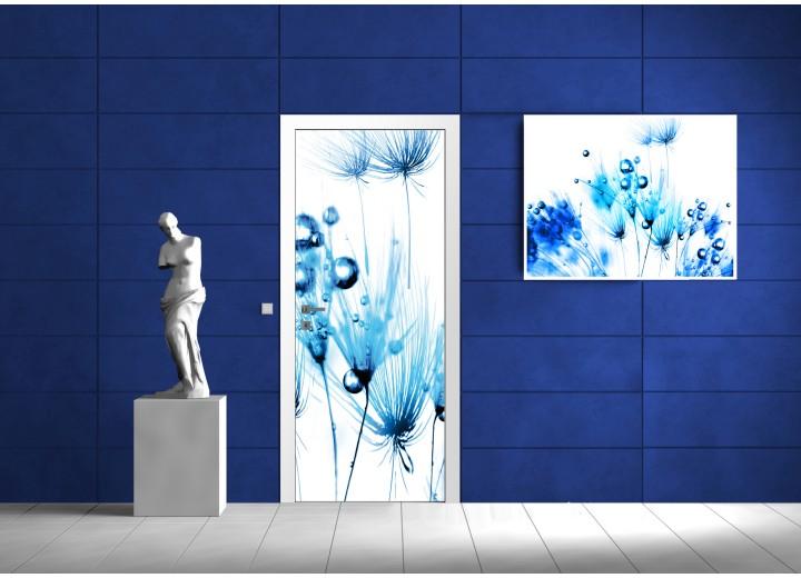Deursticker Muursticker Abstract | Blauw | 91x211cm