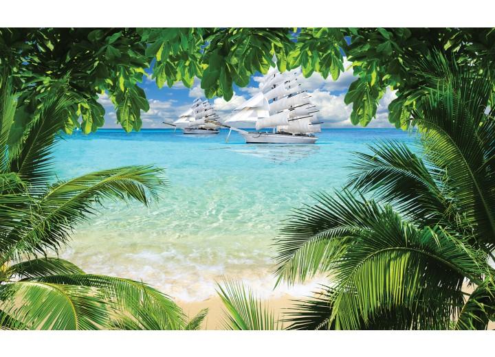 Fotobehang Papier Strand, Natuur | Groen | 368x254cm