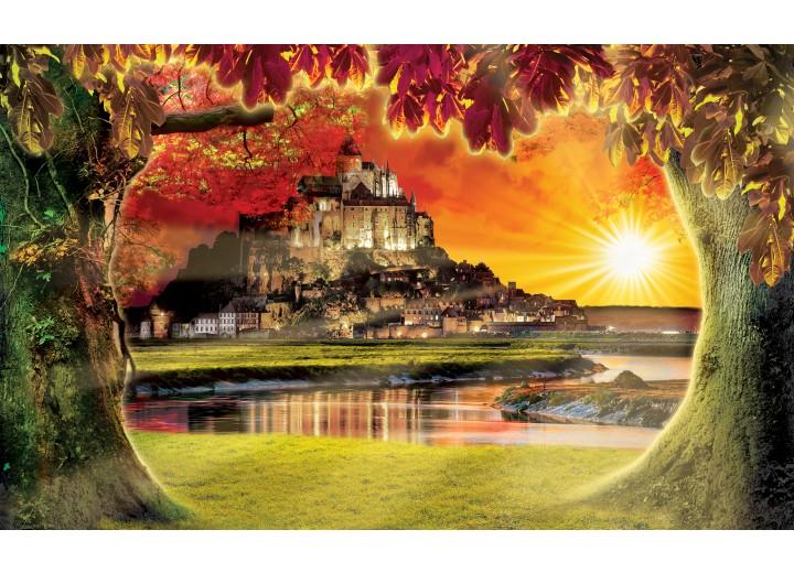 Fotobehang Papier Natuur, Zonsondergang   Oranje   368x254cm