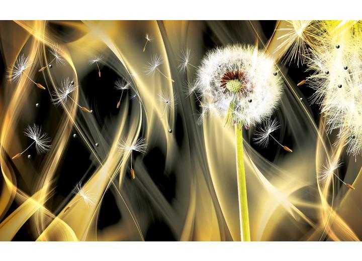 Fotobehang Papier Paardenbloem, Abstract | Goud | 254x184cm