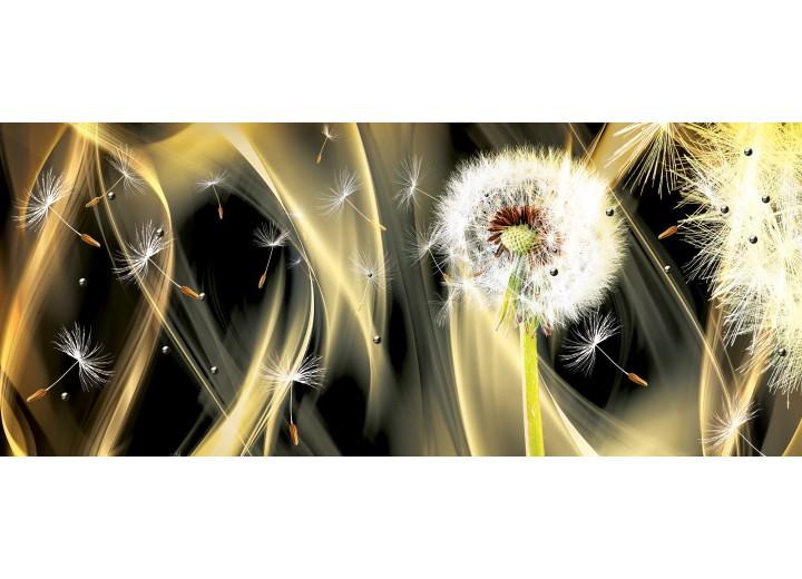 Fotobehang Paardenbloem, Abstract   Goud   250x104cm