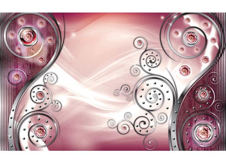Fotobehang Papier Design | Zilver, Roze | 368x254cm