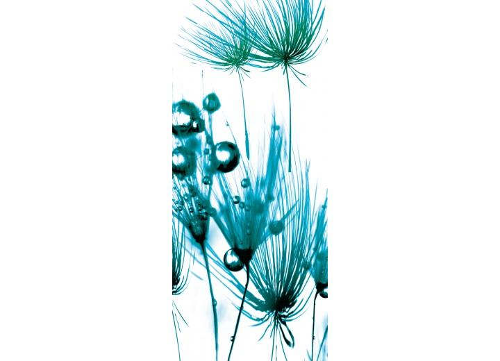 Fotobehang Bloemen   Turquoise, Wit   91x211cm
