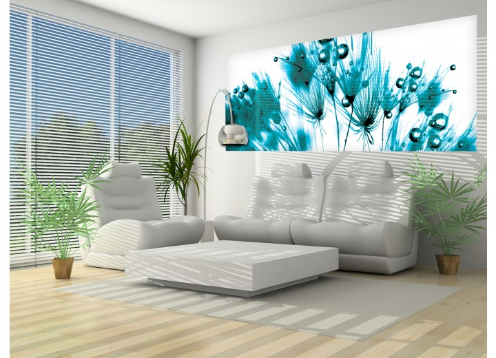 Fotobehang Bloemen | Wit, Turquoise | 250x104cm