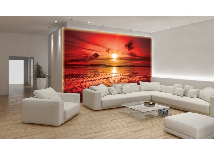 Fotobehang Zee, Zonsondergang | Rood | 104x70,5cm
