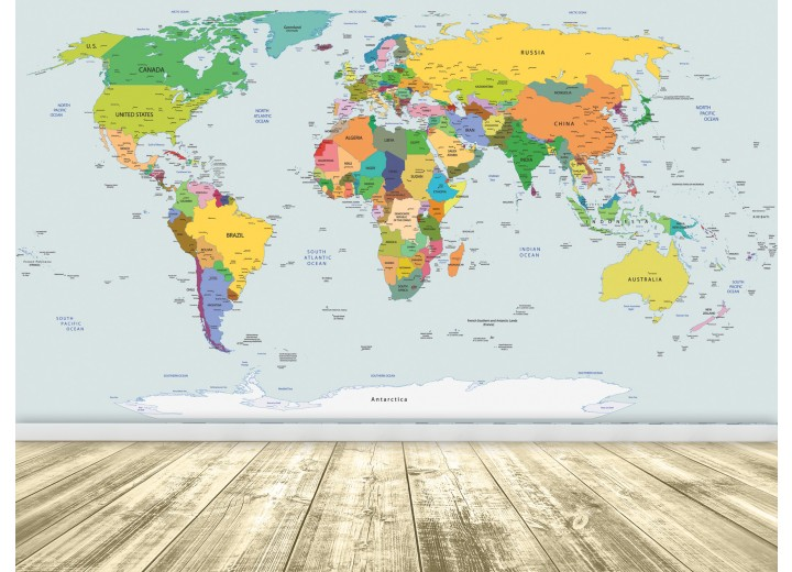 Fotobehang Papier Wereldkaart | Geel, Blauw | 254x184cm