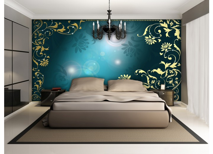 Fotobehang Papier Klassiek | Turquoise | 254x184cm