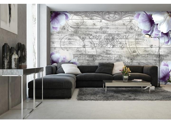 Fotobehang Hout, Blomen | Paars | 152,5x104cm