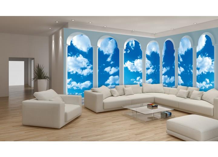 Fotobehang Vlies Lucht, Wolken | Blauw | GROOT 624x219cm