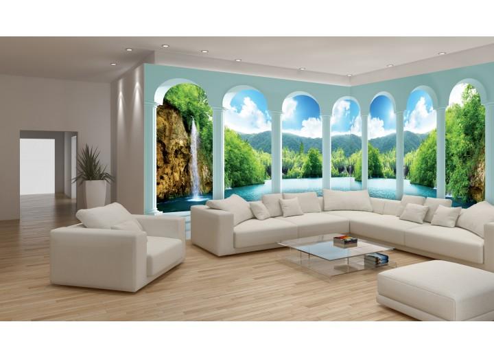 Fotobehang Vlies Natuur, Waterval | Groen | GROOT 624x219cm
