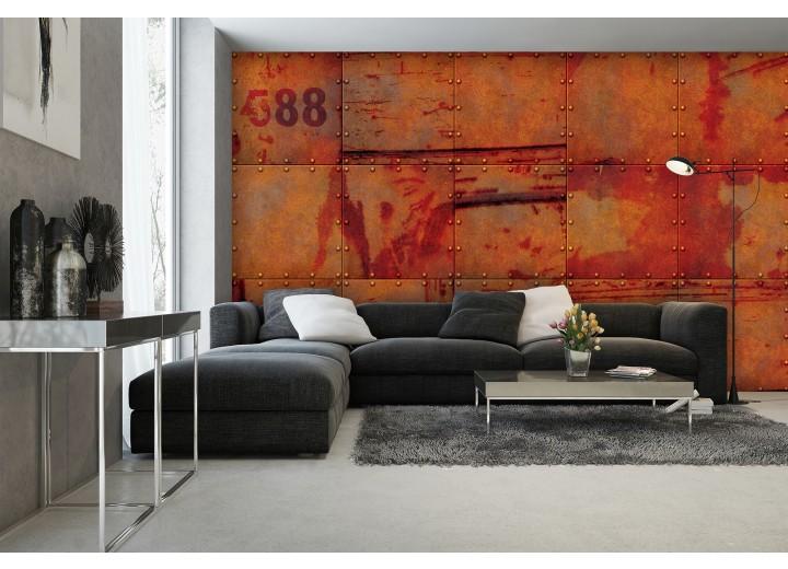 Fotobehang Industrieel, Metaallook | Oranje | 208x146cm