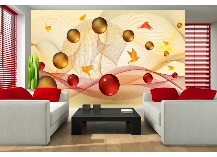 Fotobehang Modern | Geel, Rood | 104x70,5cm