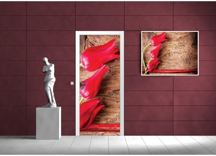 Fotobehang Bloemen, Tulpen | Rood | 91x211cm