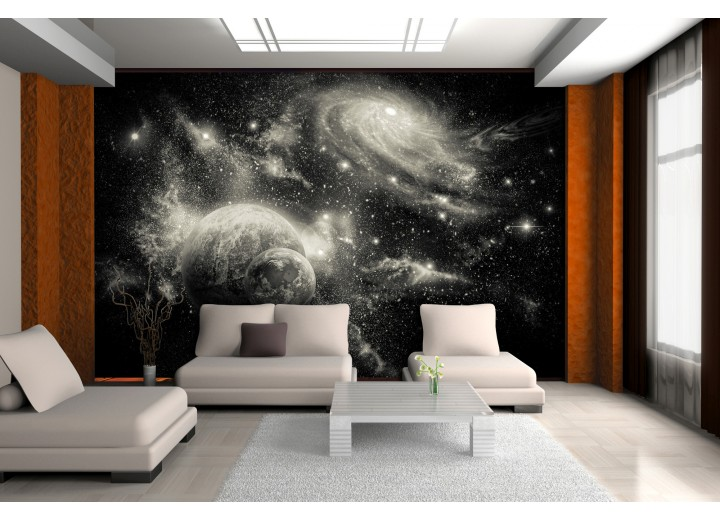 Fotobehang Planeten | Zwart, Grijs | 208x146cm