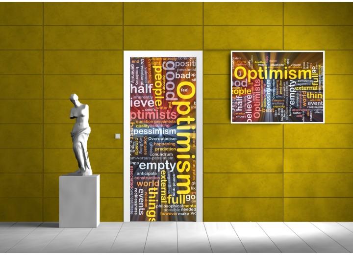 Fotobehang Tekst, Modern | Geel | 91x211cm