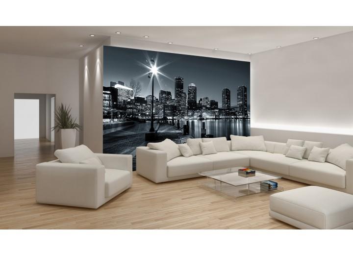 Fotobehang Skyline, Stad | Zwart, Grijs | 104x70,5cm