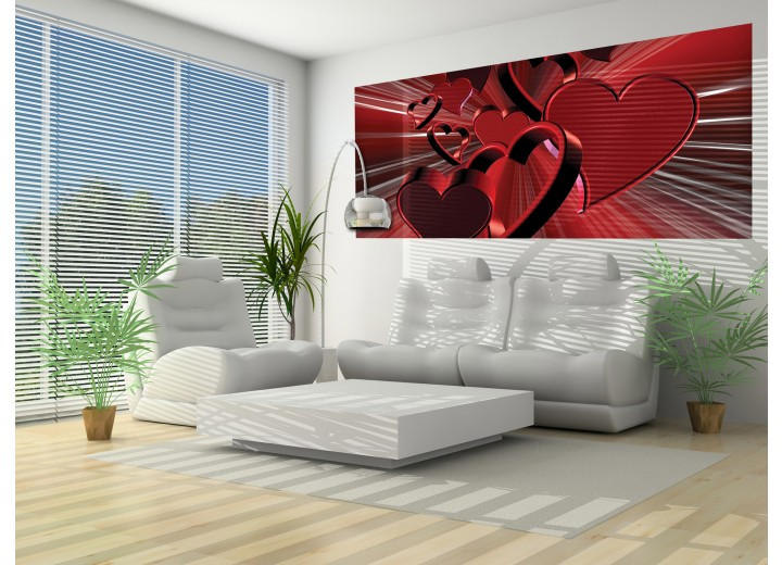 Fotobehang 3D, Hartjes | Rood | 250x104cm