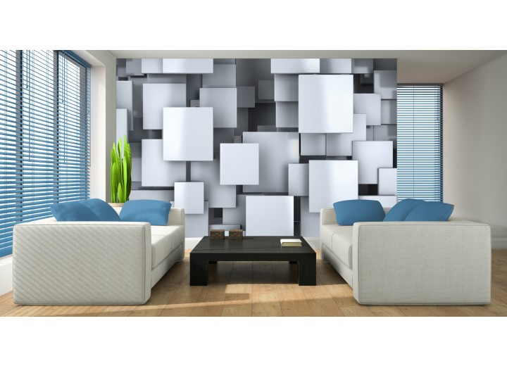 Fotobehang Papier 3D, Design | Blauw | 254x184cm