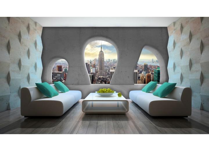 Fotobehang Papier Skyline, Modern | Grijs | 368x254cm