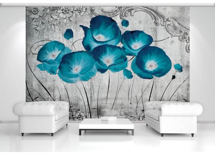 Fotobehang Bloemen, Klaproos | Turquoise | 208x146cm