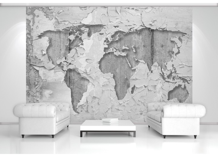 Fotobehang Wereldkaart, Muur | Grijs | 152,5x104cm