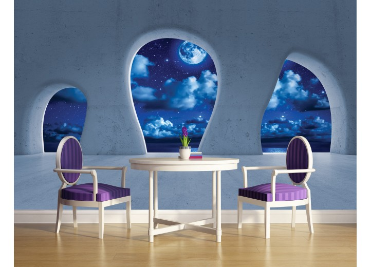 Fotobehang Modern, Nacht | Blauw | 208x146cm