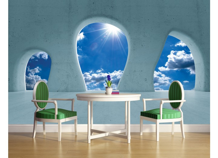 Fotobehang Papier Muur, Lucht | Blauw | 368x254cm