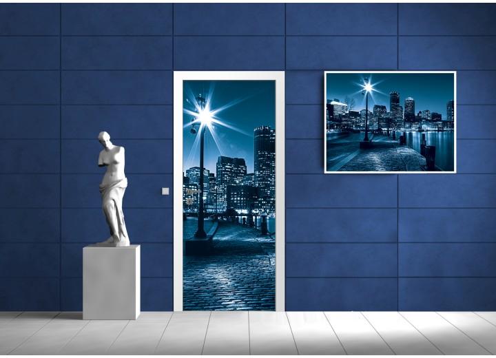 Fotobehang Steden | Blauw | 91x211cm