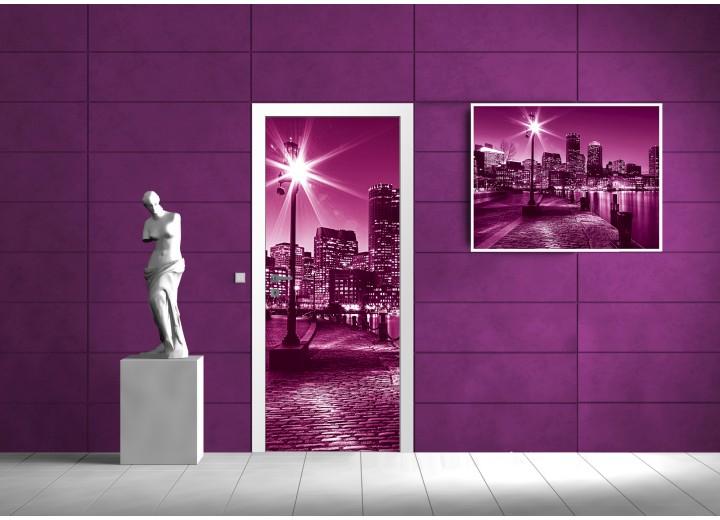 Fotobehang Steden | Roze, Paars | 91x211cm