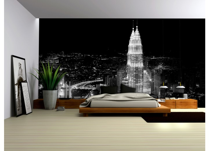 Fotobehang Skyline | Zwart, Wit | 104x70,5cm