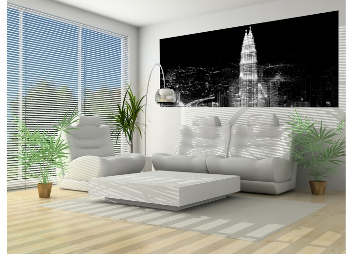Fotobehang Skyline   Zwart, Wit   250x104cm