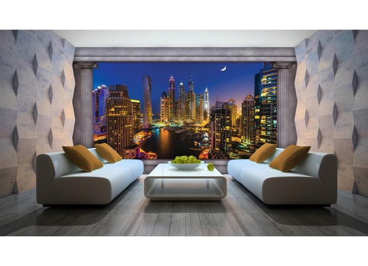 Fotobehang Skyline, Nacht | Blauw | 104x70,5cm