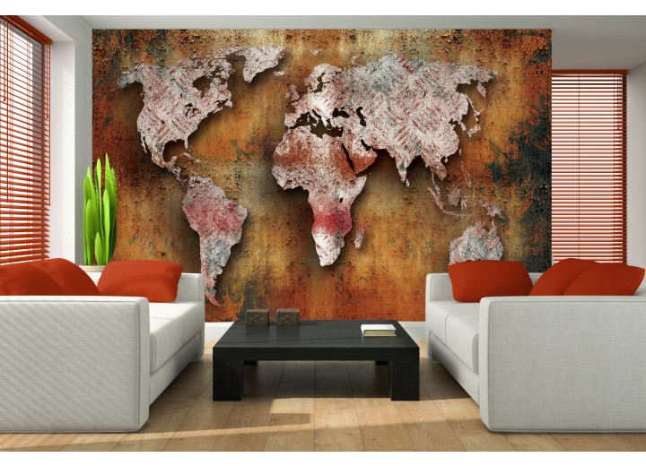 Fotobehang Wereldkaart | Bruin, Oranje | 416x254