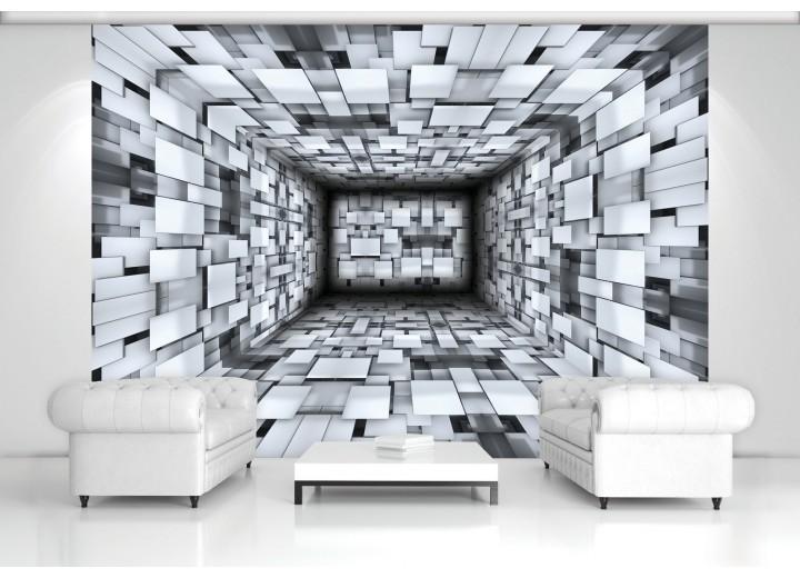Fotobehang 3D, Modern | Zilver | 312x219cm