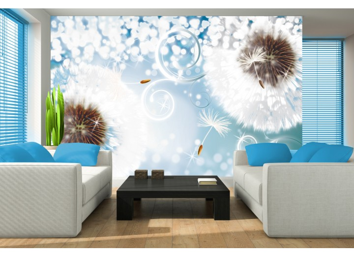 Fotobehang Papier Paardenbloem | Blauw, Wit | 368x254cm