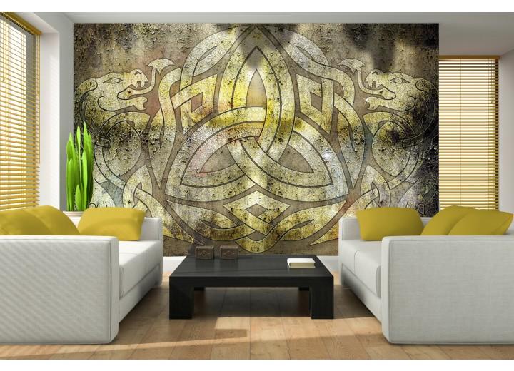 Fotobehang Papier Abstract | Geel, Bruin | 254x184cm